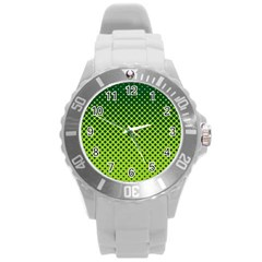 Halftone Circle Background Dot Round Plastic Sport Watch (l)