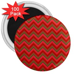 Background Retro Red Zigzag 3  Magnets (100 Pack)