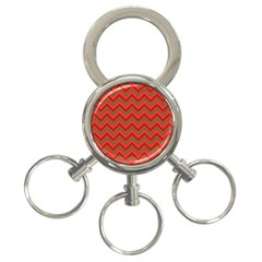 Background Retro Red Zigzag 3 Ring Key Chains