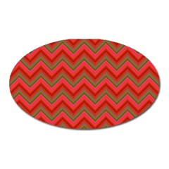 Background Retro Red Zigzag Oval Magnet