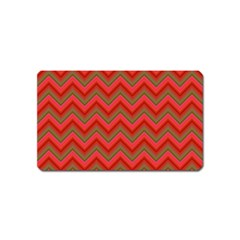 Background Retro Red Zigzag Magnet (name Card)