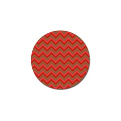 Background Retro Red Zigzag Golf Ball Marker (4 Pack)