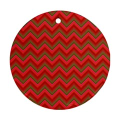 Background Retro Red Zigzag Round Ornament (two Sides) by Nexatart