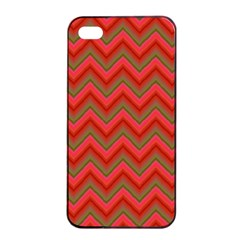 Background Retro Red Zigzag Apple Iphone 4/4s Seamless Case (black) by Nexatart