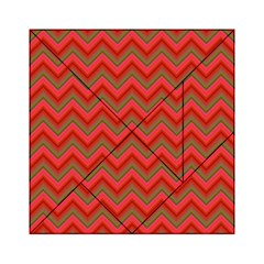 Background Retro Red Zigzag Acrylic Tangram Puzzle (6  X 6 )