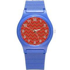 Background Retro Red Zigzag Round Plastic Sport Watch (s) by Nexatart