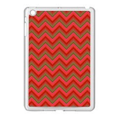 Background Retro Red Zigzag Apple Ipad Mini Case (white) by Nexatart