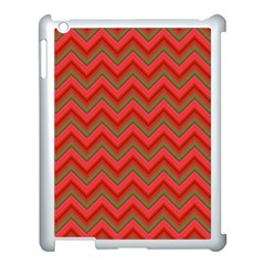 Background Retro Red Zigzag Apple Ipad 3/4 Case (white)