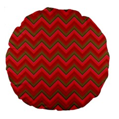 Background Retro Red Zigzag Large 18  Premium Round Cushions by Nexatart