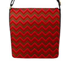 Background Retro Red Zigzag Flap Messenger Bag (l)