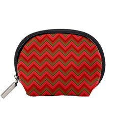 Background Retro Red Zigzag Accessory Pouches (small)  by Nexatart