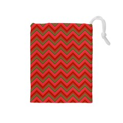 Background Retro Red Zigzag Drawstring Pouches (medium)  by Nexatart