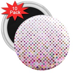 Pattern Square Background Diagonal 3  Magnets (10 Pack)  by Nexatart