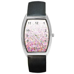 Pattern Square Background Diagonal Barrel Style Metal Watch by Nexatart