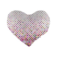 Pattern Square Background Diagonal Standard 16  Premium Flano Heart Shape Cushions by Nexatart