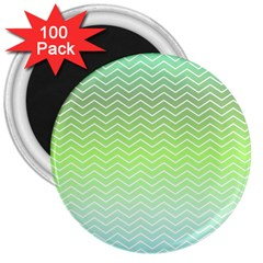 Green Line Zigzag Pattern Chevron 3  Magnets (100 Pack)
