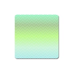 Green Line Zigzag Pattern Chevron Square Magnet by Nexatart