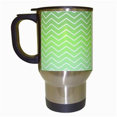 Green Line Zigzag Pattern Chevron Travel Mugs (white)