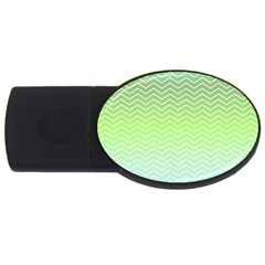 Green Line Zigzag Pattern Chevron Usb Flash Drive Oval (4 Gb)