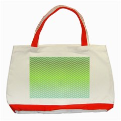 Green Line Zigzag Pattern Chevron Classic Tote Bag (red) by Nexatart