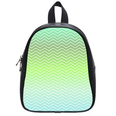 Green Line Zigzag Pattern Chevron School Bag (small)