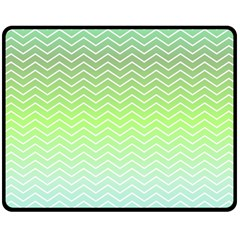 Green Line Zigzag Pattern Chevron Fleece Blanket (medium)  by Nexatart