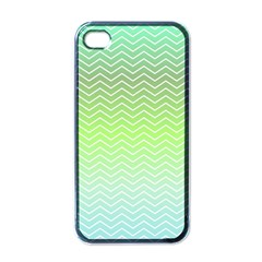 Green Line Zigzag Pattern Chevron Apple Iphone 4 Case (black)