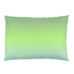 Green Line Zigzag Pattern Chevron Pillow Case (two Sides) by Nexatart