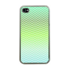 Green Line Zigzag Pattern Chevron Apple Iphone 4 Case (clear)