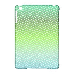 Green Line Zigzag Pattern Chevron Apple Ipad Mini Hardshell Case (compatible With Smart Cover) by Nexatart