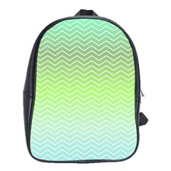 Green Line Zigzag Pattern Chevron School Bag (xl)