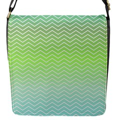 Green Line Zigzag Pattern Chevron Flap Messenger Bag (s)