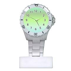 Green Line Zigzag Pattern Chevron Plastic Nurses Watch