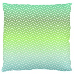 Green Line Zigzag Pattern Chevron Large Flano Cushion Case (one Side)