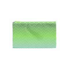 Green Line Zigzag Pattern Chevron Cosmetic Bag (xs)