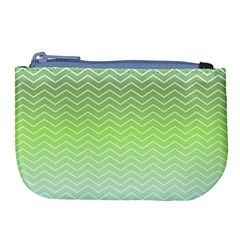 Green Line Zigzag Pattern Chevron Large Coin Purse