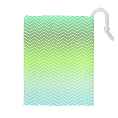 Green Line Zigzag Pattern Chevron Drawstring Pouches (extra Large)