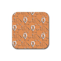 Lion Pattern Wallpaper Vector Rubber Square Coaster (4 Pack)