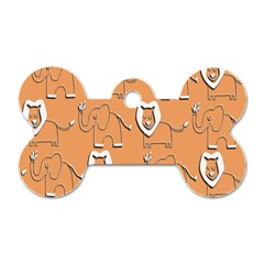 Lion Pattern Wallpaper Vector Dog Tag Bone (two Sides)
