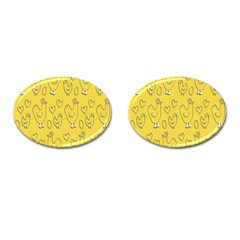 Chicken Chick Pattern Wallpaper Cufflinks (oval)