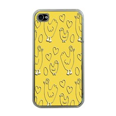 Chicken Chick Pattern Wallpaper Apple Iphone 4 Case (clear)