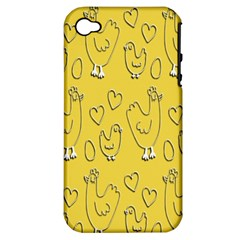 Chicken Chick Pattern Wallpaper Apple Iphone 4/4s Hardshell Case (pc+silicone)