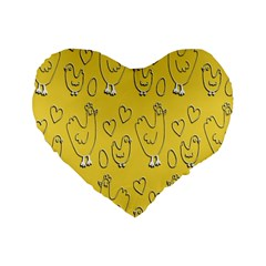 Chicken Chick Pattern Wallpaper Standard 16  Premium Heart Shape Cushions