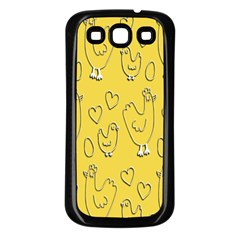 Chicken Chick Pattern Wallpaper Samsung Galaxy S3 Back Case (black)