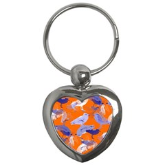 Seagull Gulls Coastal Bird Bird Key Chains (heart)  by Nexatart