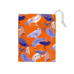 Seagull Gulls Coastal Bird Bird Drawstring Pouches (medium)  by Nexatart