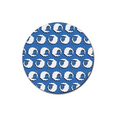 Sheep Pattern Wallpaper Vector Rubber Round Coaster (4 Pack)  by Nexatart