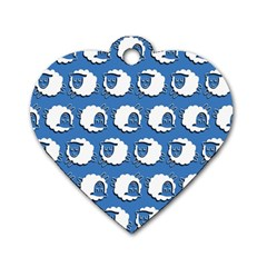 Sheep Pattern Wallpaper Vector Dog Tag Heart (one Side)