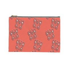 Butterfly Pink Pattern Wallpaper Cosmetic Bag (large)
