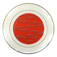 Crocodile Alligator Pattern Porcelain Plates by Nexatart